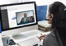 Τηλεοπτική έννοια ομιλίας συνεδρίασης της συνομιλίας κλήσης Στοκ εικόνα με δικαίωμα ελεύθερης χρήσης