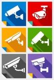 Τηλεοπτική επιτήρηση, αυτοκόλλητες ετικέττες καθορισμένες Στοκ φωτογραφία με δικαίωμα ελεύθερης χρήσης