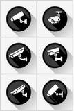 Τηλεοπτική επιτήρηση, καθορισμένες αυτοκόλλητες ετικέττες κύκλων καμερών CCTV Στοκ Εικόνα