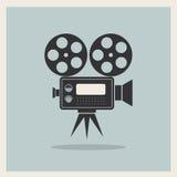 Τηλεοπτική κάμερα κινηματογράφων στο αναδρομικό υπόβαθρο Στοκ Εικόνες