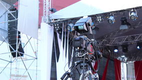 Τηλεοπτική κάμερα με το όργανο ελέγχου ελέγχου απόθεμα βίντεο