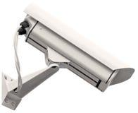 Τηλεοπτική κάμερα CCTV επιτήρησης, απομονωμένη γκρι μεγάλη κινηματογράφηση σε πρώτο πλάνο, ανοικτό γκρι γκρίζος Στοκ εικόνες με δικαίωμα ελεύθερης χρήσης