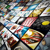 Τηλεοπτικός τοίχος - όλες οι εικόνες είναι από το χαρτοφυλάκιό μου Στοκ Φωτογραφίες