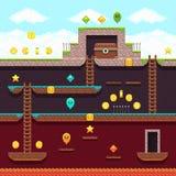 Τηλεοπτικό παιχνίδι εικονοκυττάρου υπολογιστών οκτάμπιτο Πλατφόρμα και arcade διανυσματικό σχέδιο Στοκ Εικόνες