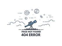 Τηλεσκόπιο που ψάχνει το έμβλημα 404 απεικόνιση αποθεμάτων