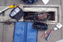 Τηλεφωνικά καλώδια και εργαλεία Στοκ φωτογραφία με δικαίωμα ελεύθερης χρήσης