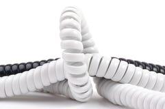 Τηλεφωνικά σκοινιά μαύρο λευκό στοκ εικόνες