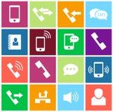 τηλεφωνικές καθορισμένες αυτοκόλλητες ετικέττες τρία εικονιδίων Στοκ εικόνες με δικαίωμα ελεύθερης χρήσης
