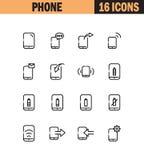 τηλεφωνικές καθορισμένες αυτοκόλλητες ετικέττες τρία εικονιδίων Στοκ φωτογραφία με δικαίωμα ελεύθερης χρήσης