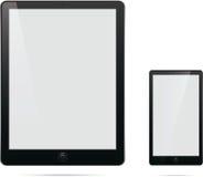 Τηλεφωνική ταμπλέτα υπολογιστών με την κενή άσπρη οθόνη Στοκ εικόνα με δικαίωμα ελεύθερης χρήσης