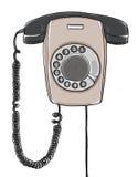 Τηλεφωνικός τοίχος που κρεμά την εκλεκτής ποιότητας αναδρομική βιομηχανική συρμένη χέρι τέχνη Στοκ Εικόνες