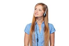 Τηλεφωνικός χειριστής υποστήριξης γυναικών στην κάσκα Στοκ εικόνα με δικαίωμα ελεύθερης χρήσης