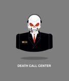 Τηλεφωνικό κέντρο θανάτου Κρανίο με την κάσκα Ο σκελετός στο κοστούμι αποκρίνεται Στοκ Φωτογραφίες
