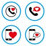 Τηλεφωνικό μήνυμα αγάπης στρογγυλευμένα διανυσματικά εικονίδια Στοκ Φωτογραφίες