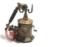 Τηλεφωνικό παλαιό άσπρο υπόβαθρο Στοκ Εικόνα