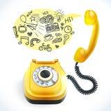 Τηλεφωνικό παλαιό doodle Στοκ Εικόνες