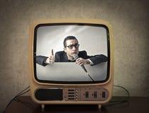 Τηλεόραση που παρουσιάζει παρουσίαση σόουμαν στοκ εικόνα