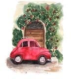 Τη σύνθεση ενός κόκκινου αυτοκινήτου σταθμεύουν κοντά στην ξύλινη καφετιά πόρτα με ελεύθερη απεικόνιση δικαιώματος