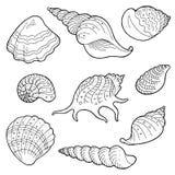 Τη Shell καθορισμένη τη γραφική μαύρη άσπρη απεικόνιση σκίτσων Στοκ φωτογραφίες με δικαίωμα ελεύθερης χρήσης
