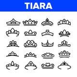 Τιάρα, βασιλικά βοηθητικά διανυσματικά λεπτά εικονίδια γραμμών καθορισμένα απεικόνιση αποθεμάτων