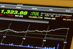Τιμές εμπορίου αποθεμάτων και να ανεβεί διαγραμμάτων Στοκ Εικόνα