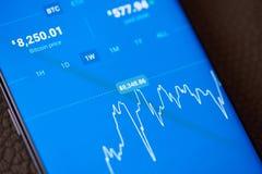 Τιμή των bitcoins στο smartphone στοκ φωτογραφίες με δικαίωμα ελεύθερης χρήσης