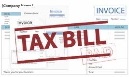 Τιμολόγιο Μπιλ που πληρώνεται την πληρωμή την οικονομική φορολογική έννοια Στοκ φωτογραφίες με δικαίωμα ελεύθερης χρήσης
