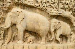 Τιμωρία Arjuna σε Mahabalipuram, Tamil Nadu, Ινδία, Ασία Στοκ Φωτογραφίες
