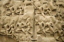Τιμωρία Arjuna σε Mahabalipuram, Tamil Nadu, Ινδία, Ασία Στοκ Φωτογραφία