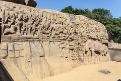 Τιμωρία Arjuna σε Mamallapuram (Mahabalipurm) στο Tamil Nadu, έτσι Στοκ Εικόνες