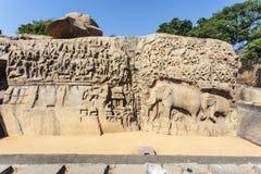 Τιμωρία Arjuna σε Mamallapuram (Mahabalipurm) στο Tamil Nadu, έτσι Στοκ εικόνες με δικαίωμα ελεύθερης χρήσης