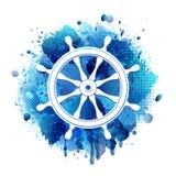 Τιμόνι για το άσπρο εικονίδιο σκαφών Στοκ Εικόνες