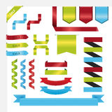 Τις επίπεδες μεγάλες κορδέλλες καθορισμένες το διάνυσμα στο διάνυσμα μπλε, πράσινων, κόκκινων χρωμάτων Στοκ εικόνα με δικαίωμα ελεύθερης χρήσης
