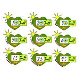Τις ετικέττες θερινής πώλησης καθορισμένες το διανυσματικό πρότυπο διακριτικών, 10 μακριά, 20, 30, 40, 15, 25, σύμβολα ετικετών π ελεύθερη απεικόνιση δικαιώματος