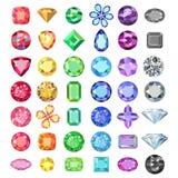 Τις δημοφιλείς χαμηλές πολυ χρωματισμένες περικοπές πολύτιμων λίθων που τίθενται τη διαβάθμιση από το χρώμα διανυσματική απεικόνιση