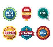 Τις διανυσματικές ετικέτες και τις κορδέλλες πώλησης καθορισμένες τα στοιχεία σχεδίου Στοκ φωτογραφίες με δικαίωμα ελεύθερης χρήσης