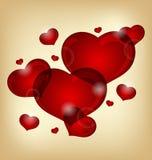 τις καρδιές που τίθενται το βαλεντίνο Στοκ Εικόνες