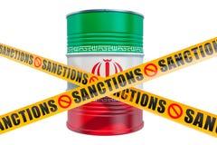 Τις κυρώσεις κατά του Ιράν, που απαγορεύουν την εξαγωγή της ιρανικής έννοιας πετρελαίου, τρισδιάστατη απόδοση απεικόνιση αποθεμάτων