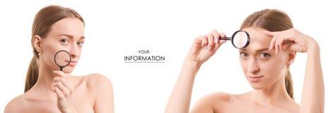 Τις όμορφες νέες πιό magnifier ρυτίδες δερμάτων προσώπου ομορφιάς γυναικών καθορισμένες το σχέδιο Στοκ Φωτογραφίες