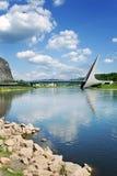 Τισσα Παρθένου Μαρίας γέφυρα πέρα από τον ποταμό Elbe, NAD Labem, Τσεχία Usti στοκ εικόνες
