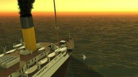 Τιτανική ψηφιακή ναυσιπλοΐα επάνω από τη θάλασσα στο ηλιοβασίλεμα ελεύθερη απεικόνιση δικαιώματος