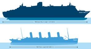 Τιτανικός και Queen Mary 2 - σύγκριση και δραχμές μεγέθους Στοκ Φωτογραφίες