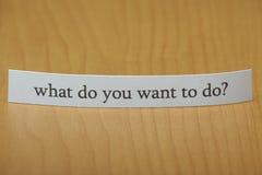 Τι θέλετε να κάνετε; Στοκ Εικόνες