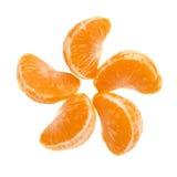 Τμήματα φετών tangerine που απομονώνονται πέρα από Στοκ Εικόνες