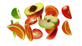 Τμήματα φρούτων στο άσπρο υπόβαθρο, τρισδιάστατη απεικόνιση Στοκ φωτογραφία με δικαίωμα ελεύθερης χρήσης