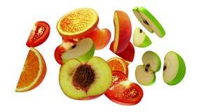 Τμήματα φρούτων στο άσπρο υπόβαθρο, τρισδιάστατη απεικόνιση Στοκ φωτογραφίες με δικαίωμα ελεύθερης χρήσης