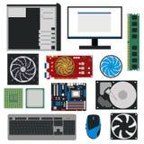 Τμήματα PC κινούμενων σχεδίων για το σύνολο καταστημάτων υπολογιστών διάνυσμα διανυσματική απεικόνιση