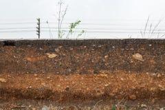 Τμήμα τα στρώματα συγκρατήσεων του χώματος και του βράχου Προκαλούμενος από την κατάρρευση στοκ εικόνα