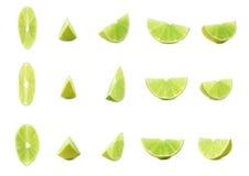 Τμήμα φετών του ασβέστη που απομονώνεται πέρα από το άσπρο υπόβαθρο, σύνολο διαφορετικών foreshortenings Στοκ φωτογραφία με δικαίωμα ελεύθερης χρήσης