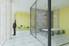 Τοίχοι ασβέστη, τούβλου και γυαλιού στην αρχή Στοκ Εικόνες